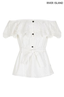 River Island White Longline Broderie Bardot Top
