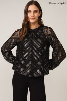 Phase Eight Black Cassidy Chevron Blouse
