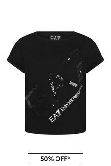 EA7 Emporio Armani Girls Black Cotton T-Shirt