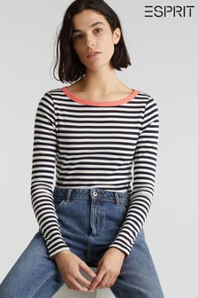 Esprit Long Sleeved Striped T-Shirt With Neck Colour Detail
