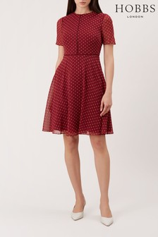 Hobbs Red Cecily Spot Dress