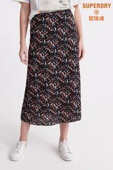 Superdry Black Camo Midi Skirt
