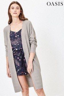 Oasis Grey Luxe Ribbed Knit Cardigan