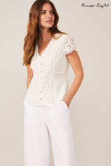 Phase Eight White Lula Paisley Broderie Anglaise Blouse