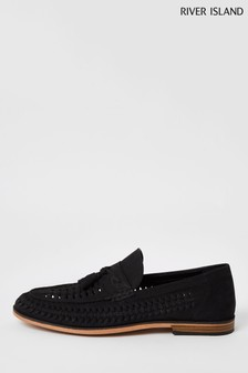 River Island Black 7005 Woven Tassel Loafers