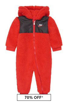 Baby Boys Red Sherpa Hooded Babygrow