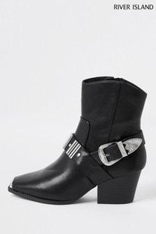River Island Black Hardwear Western Boots