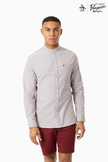 Original Penguin® Long Sleeve Cotton Oxford Grandad Collar Shirt
