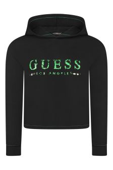 Guess Girls Black Cotton Hooded Sweater