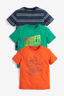 3 Pack Gamer T-Shirts (3-16yrs)