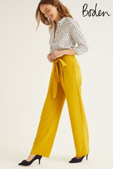 Boden Yellow Ketton Wide Leg Trousers