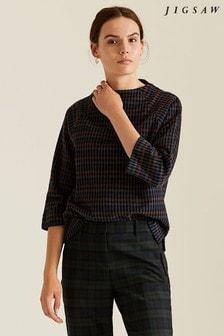 Jigsaw Blue Soft Check Sweatshirt