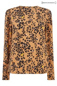 Warehouse Tan Floral Leopard Puff Sleeve Top