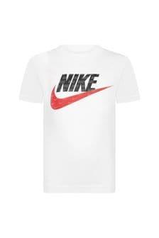 Nike Boys White Cotton T-Shirt