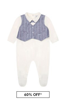 Emporio Armani Baby Boys Blue Babygrow