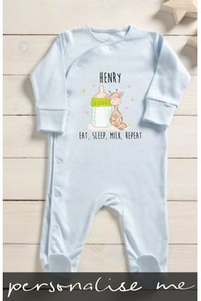 Personalised Eat Sleep Milk Repeat Sleepsuit