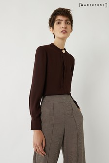 Warehouse Brown Button Neck Shirt