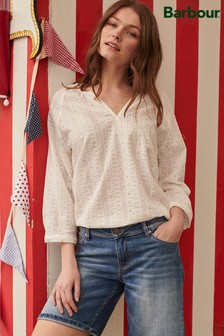 Barbour® Coastal White Broderie Anglaise Overboard Blouse