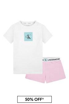 Girls White And Pink Cotton Short Pyjamas