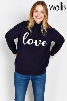 Wallis Navy Slogan Love Sweater