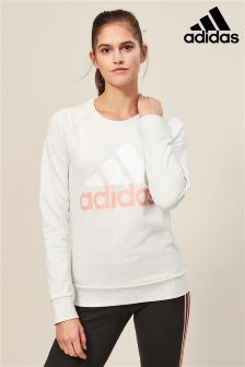 adidas White Melange Essential Linear Sweat Top