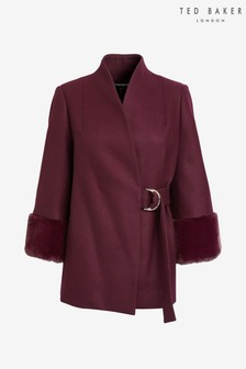 Ted Baker Purple Faux Fur Cuff Coat