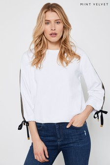 Mint Velvet White Contrast Tie Sleeve Sweat Top