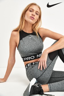 Nike Pro Charcoal Space Dye Crop Top