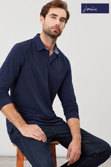 Joules Blue Woodwell Long Sleeve Classic Fit Polo