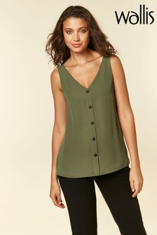 Wallis Green Khaki V-Neck Button Vest