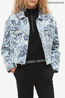 Calvin Klein Blue Jeans Water Floral Denim Jacket