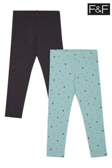 F&F Mint/Charcoal Rib Printed Leggings Two Pack