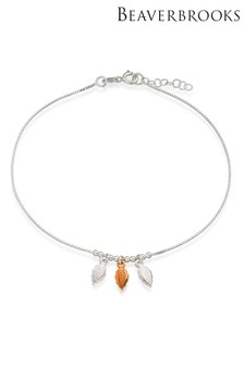 Beaverbrooks Silver And Rose Gold Plated Triple Feather Anklet