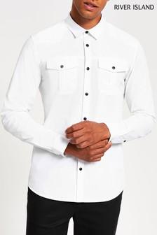 River Island Long Sleeve White Utility Shirt