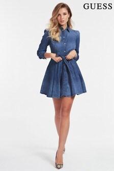 Guess Blue Denim Wrap Shirt Dress