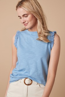 Broderie Sleeve Shell Top