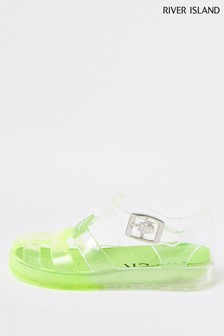 River Island Green Bright Ombre Jelly Sandals