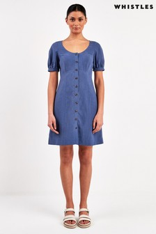 Whistles Blue Tara Scoop Linen Mix Dress