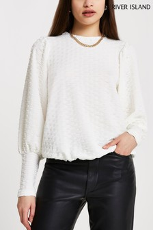River Island Cream Puff Sleeve Textured Top