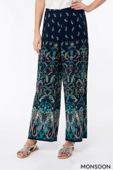 Monsoon Navy Georgie Placement Print Trouser