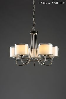 Laura Ashley Chrome Southwell 5 Light Chandelier and Glass Shades