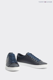 Tommy Hilfiger Blue Essential Leather Flag Trainers