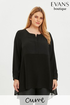 Evans Curve Black Notch Neck Blouse