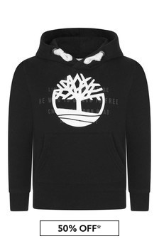 Boys Black Logo Print Hooded Sweater