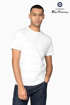 Ben Sherman Main Line White Print Palm Stripe T-Shirt
