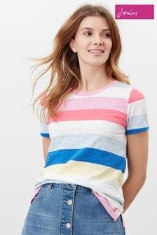 Joules Cream Carley Stripe Classic Crew T-Shirt