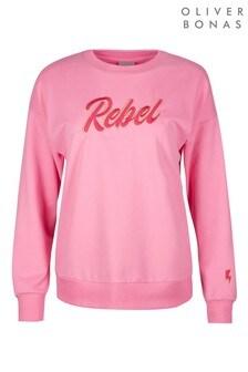 Oliver Bonas Rebel Embroidered Pink Sweatshirt