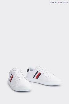 Белые кожаные кроссовки с прошитой подошвой Tommy Hilfiger Essential