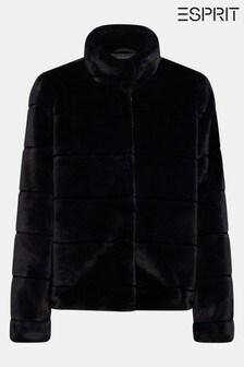 Esprit Black Short Faux Fur Jacket With Pockets