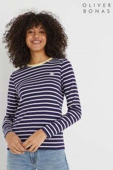 Oliver Bonas Blue Daisy & Striped Long Sleeve T-Shirt
